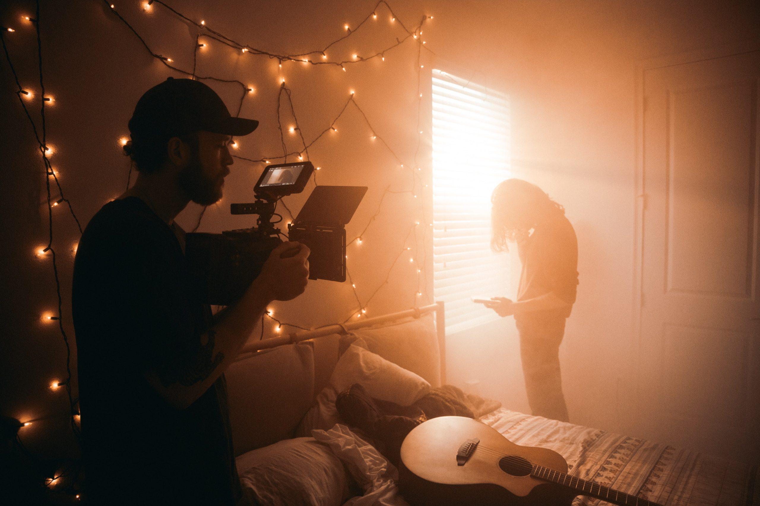 Filming scene in bedroom